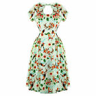 Green Tropical Floral 50s Vintage Pinup Party Prom Dress