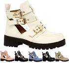Ladies Womens Buckles Chunky Cutout Chelsea Ankle School Office Boots Shoes Size