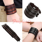Punk 3 Layer Buckle Real Cow Leather Belt Cuff Bangle Bracelet Wristband Adjust