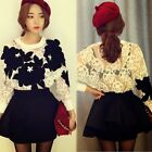 Loose Floral Lace Appliques Batwing Sleeve Womens Short Shirt Blouse Top Casual
