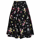 Voodoo Vixen 1950s Kitsch Vintage Retro Space Pinup Girl Star Print Flared Skirt
