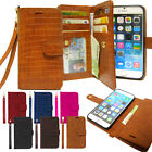 Card Slot Double Leather Wallet Book Case Cover For iPhone/Galaxy/LG+Strap+Film