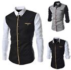 2Color Men Splice Shirt Casual Long-sleeved Tops Button Down Pointed Collar - CB