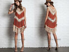 RUST BEIGE (23) CROCHET Fringe DRESS Sleeveless Loose Bohemian Boho Shirt S M L
