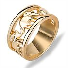 Lucky Elephant Ring Wedding Band 10KT Yellow Gold Filled Women Jewelry Size 6-11