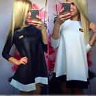 Fashion Women Bodycon Sexy Loose Dresses Splice Leather Party Mini Dress Reliabl