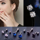 Hypoallergenic Stainless Steel Stud Steel Rhinestone Earrings White/Navy/Black