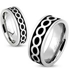Stainless Steel Black Infinity Love Wedding Band Ring Size 5-13