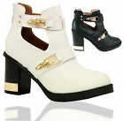 Ladies Buckle Strap Cutout Block Heel Gold Trim Women Ankle Boots Shoes Size 3-8