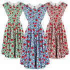 Hell Bunny Apple Print 1940s Wartime WW2 Summer Tea Party Sun Dress