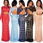 Sexy Lady Women Long Sleeve Lace Maxi Long Dress Prom Wedding Party Evening Gown