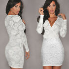 Womens Sexy Deep V neck Elegant Lace Bodycon Fitted Party Club Mini Dress
