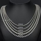 NEW 2/3/4/5/6MM Mens Chain Round Box Silver Tone Stainless Steel Necklace18-36''