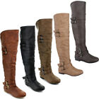 Top Moda NIGHT-79 Women's Over The Knee Round Toe Buckle Riding Flat Boots