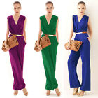 Fashion Women OL Deep V Neck Sleeveless Cocktail Party Jumpsuit Romper Applied