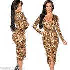 Sexy New Women Long Sleeve Leopard Print V-Neck Bodycon Clubwear Party Dress