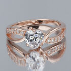 Rose Gold GP .925 Sterling Silver Ring 6mm Heart Clear CZ Sizes Love Gift