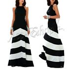 Elegant Lady Striped Empire Waist Long Maxi Cocktail Party Evening Chiffon Dress