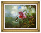 Orchid and Hummingbirds near a Mountain Lake by Martin J Heade Repro Framed Art