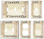 FAITH FAMILY FRIENDS PATCHWORK BROWN TONES LIGHT SWITCH COVER PLATE K2