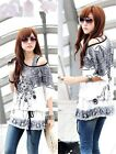 Women's New Mixed Pattern T-Shirt Printing Short Sleeve Tops Casual Blouses S