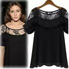 Womens Lace Floral Shoulder Casual Short Sleeve T Shirt Top blouse plus size