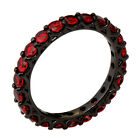 Jewelry Red Ruby Full CZ Women's Wedding Ring 10Kt Black Gold Filled Band Sz6-10