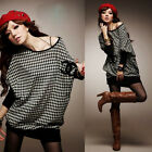 Batwing Sleeve Hip-wrapped Houndstooth Womens T-shirt Tops Tee Mini Dress 6971