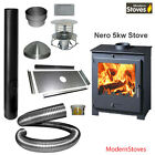 Nero 5kw wood burning modern stove complete installation package
