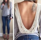 Chic Women Sexy Open V Backless Crocheted Lace Tops Tee Shirt Casual Blouse - CB