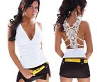 Sexy Ladies Hollow Lace Tank Top Sleeveless Shirt Vest Camisole Blouse Tops - CB