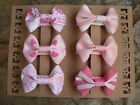 "Handmade Assorted Pinks Coloured Bow Hairclips/ Set Of Six 2"" Grosgrain Bows"