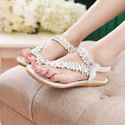 Summer Womens White Casual Bohemia Flower Beads Beach Flat Sandals Size4-7