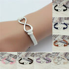 Infinity Bracelet Silver Lucky 8 Friendship Leather Bangle Jewelry Gift Handmade