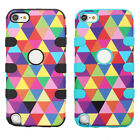 Hybrid Impact Stripe Rubber Shockproof Case Cover For iPod Touch 5 5th Gen Relia
