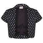 Womens New Black Polka Dot Formal Wedding Rockabilly Pinup Bolero Shrug