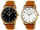 Classic Mens Quartz Analog Brown Faux Leather Band Wrist Watch Casual Watches
