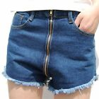 Women Front Zip Shorts Hot Pants Denim Jean High Waist Fray Blue Vintage Zipper