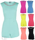 NEW WOMENS LADIES STATEMENT NECKLACE SLEEVELESS ZIP BACK PLAYSUIT SIZES 8-16