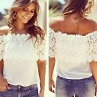 Chic Women Off Shoulder Casual Tops Blouse Lace Crochet Chiffon Shirt White - CB