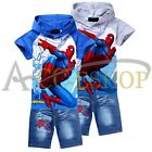Boy Spiderman Kid Suit Hooded Top T-Shirt Jeans Shorts Outfit Clothes Set 2-8Yrs