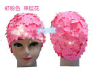 New Women Vintage Style Floral Flowered Adult Swimming Swim Hat Ruffle 6 Colors