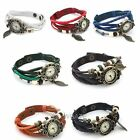 New Weave Wrap Retro Leather Bracelet Tree Leaf Decoration Quartz Wrist Watch