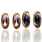 Women 18K Gold Plated Austrian Crystal Round Stud Earrings Jewelry In 2 Color