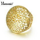 Viennois new africa gold styel hollow round flower ring fashion jewelry sz 7-8