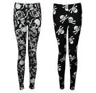 NEW BLACK WHITE GOTHIC SKULL PRINT STRETCHY LONG LEGGINGS SIZE 8-18