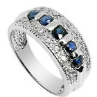 Jewelry Rings Size 6/7/8/9/10 Blue Sapphire CZ gems Men/Lady's White Gold Filled