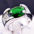 Jewelry Engagement Ring Size 9/10/11/12 Green Emerald CZ Men's White Gold Filled