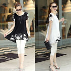 New Womens Chiffon Short Sleeve Loose Casual Floral Print Blouse Dress Tops