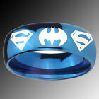 Tungsten Batman & Superman Blue Glossy Mirror Dome Ring Sz 4-14